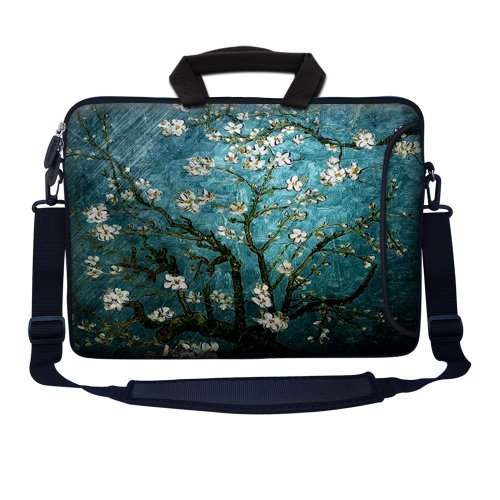 Meffort Inc 17 17.3 inch Neoprene Laptop Bag Sleeve with Extra Side Pocket, Soft Carrying Handle & Removable Shoulder Strap for 16 to 17.3 Size Notebook Computer - Vincent van Gogh Almond Blossoming