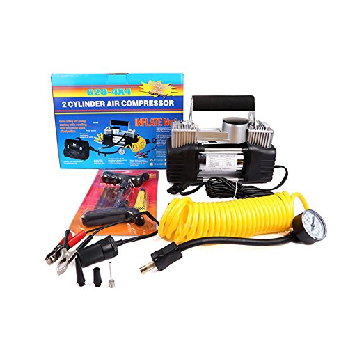 A-Premium 4X4 4WD Portable Air Compressor DC 12V 25A 150 PSI Twin Cylinders Car Tire Inflator