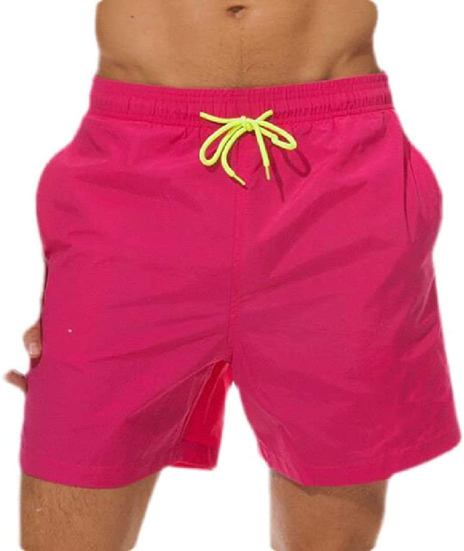 Abeaicoc Mens Quick Dry Drawstring Solid Color Beach Shorts Swim Trunk