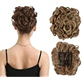 BARSDAR Messy Hair Bun Extension Combs in Easy Stretch Scrunchie Chignon Tray Ponytail Hairpieces for Women/Ladies/Girls (12H24# Brown & Blonde)