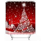 Christmas Decoration Shower Curtain - Custom Home Decor Christmas Decoration Background Fabric Shower Curtain European Style Bathroom Curtain Waterproof 71'x71' / 180*180cm (Blingbling Christmas Tree)