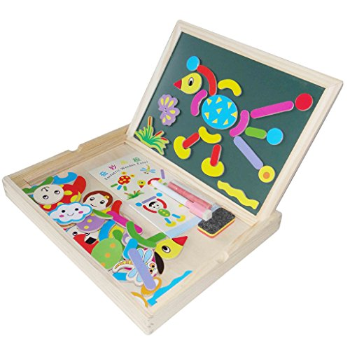 Babyfans Educational Farm Jungle Animal Wooden Magnetic Puzzle Toys for Children Kids Jigsaw Baby's Drawing Easel Board
