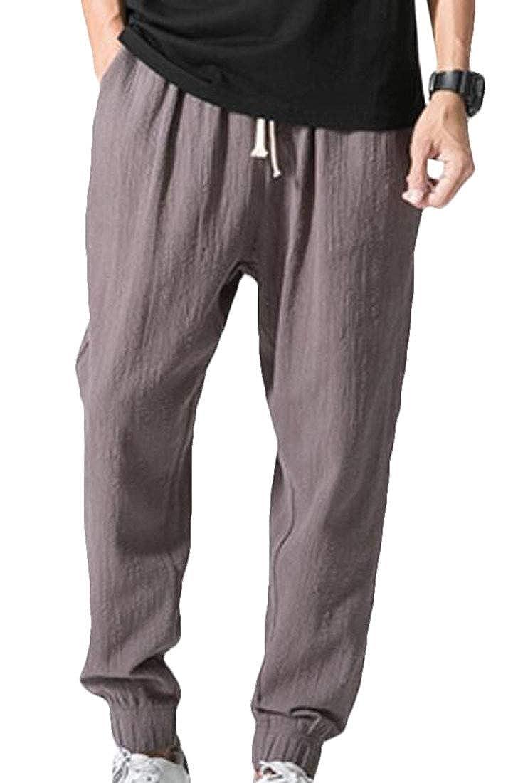 UUYUK Men Chinese Style Loose Plus Size Linen Pocket Harem Pants