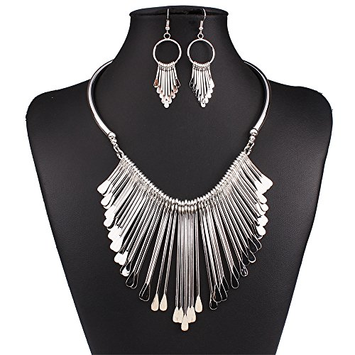 Everrich Fashion Women 18k Gold Plated Tassel Africa Dubai Wedding Party Crystal Necklace Earrings Jewelry Set