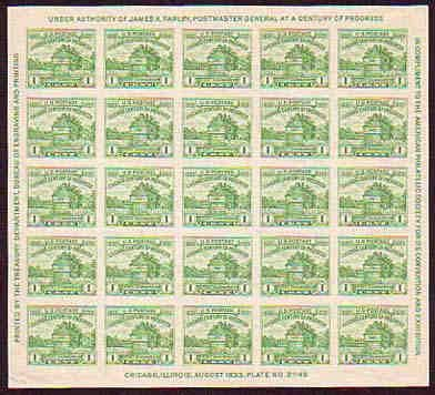 American Philatelic Society Issue of 1933 - 25 x 1 Cent Stamps Souvenir Sheet Scott 730