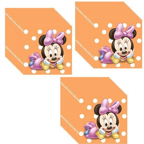 Disney Minnie Mouse Baby 1st Birthday Beverage Napkins - 3 Packs of 16 (48 Total Napkins) -