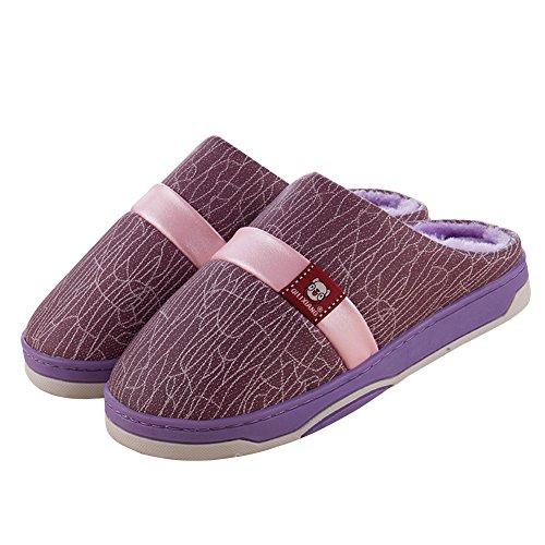 Zapatillas Hevinle Mujeres Thermal Winter House Slip On Purple