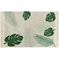 Lorena Canals, Artisan Made Tropical Green Palm Leaf 47 x 67 Washable Rug
