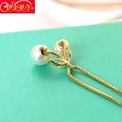 0071 Cherry (Generic Japan Korea _cherry_ pearl shell necklace Pendant clavicle chain S925 Silver necklace Pendant chain fashion fashion birthday gift)