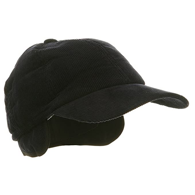 Adult Winter Corduroy Quilted Baseball Cap With Ear Flap Navy at ... 3cd82a676fe