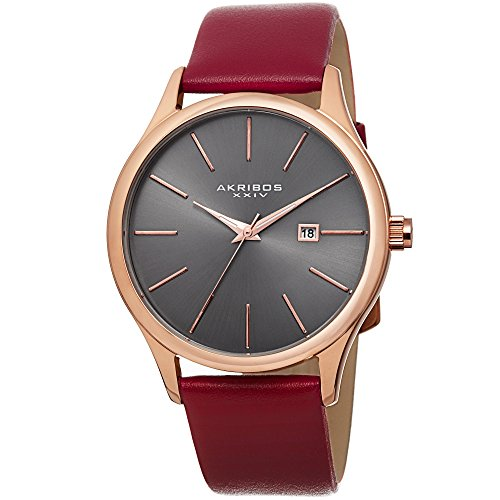 Akribos XXIV Men's AK618RGR Red Leather Strap Stainless Steel Quartz Watch