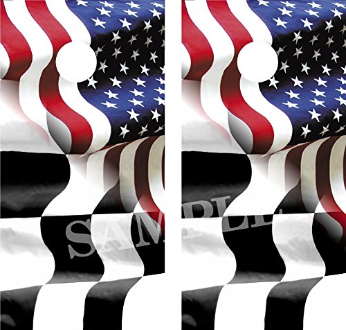 American - Racing Flag Cornhole Board Wraps Vinyl Graphics Decals