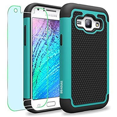 Samsung Galaxy J1 / J100 Case, INNOVAA Smart Grid Defender Armor Case W/ Free Screen Protector & Touch Screen Stylus Pen - Black/Teal