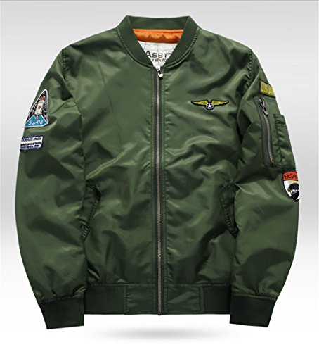 OIZEN Pilot Bomber Jacket, Mens Us Pilot Airforce West Hip Hop Casual Male Windbreaker Jacket (XL Army Green) by OIZEN