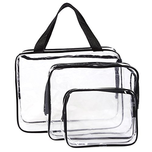 Juvale Set of 3 Travel Toiletry Bag - Clear Make-up Bags, Wa