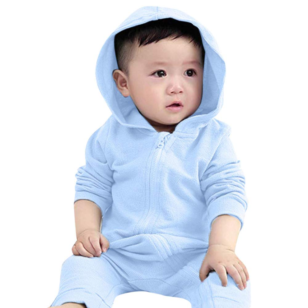 e8ac34df511c Amazon.com  Dinosaur Hoodie Romper for Little Girls Boys Franterd Baby Solid  Pink Blue Zipper Jumpsuit Clothes  Sports   Outdoors