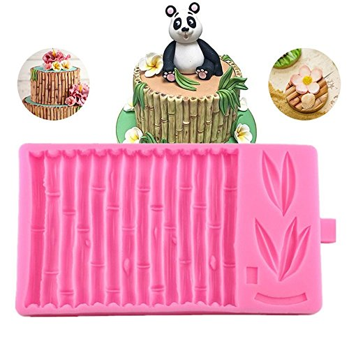 3D Bamboo Cake Fondant Molds Bamboo Pattern Cake Border Decorating Molds Candy Baking Mat Gumpaste Imprint Textured Embossed Moulds Polymer Clay Molds
