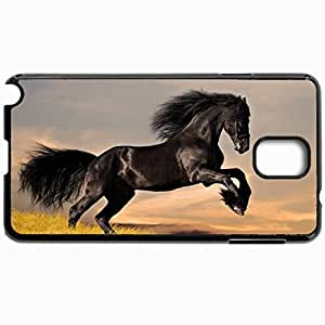 Customized Cellphone Case Back Cover For Samsung Galaxy Note 3, Protective Hardshell Case Personalized Horse Black