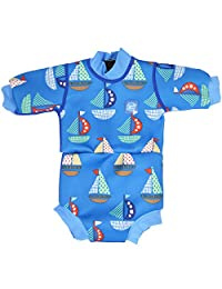 Splash About Baby Happy Nappy Wetsuit- 2 in 1 Baby Wetsuit and Diaper (Large 6-14 Months, Set Sail)