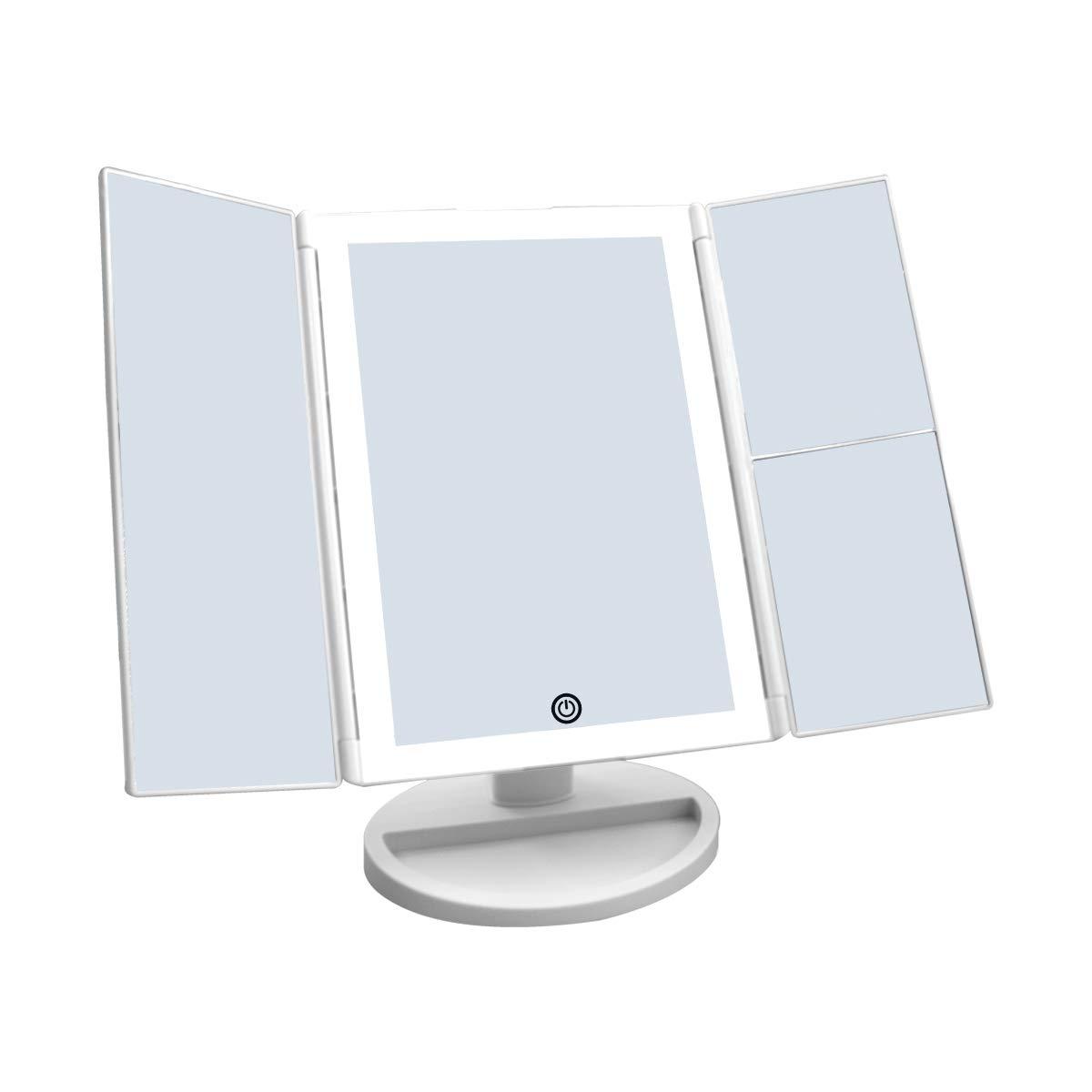 WEILY Specchietto per il trucco con touch screen Tri-fold, ingrandimento 1x / 2x / 3x e caricatore USB o wireless, luce LED regolabile a 180 ° per il banco da viaggio Specchio per il trucco HaiFen