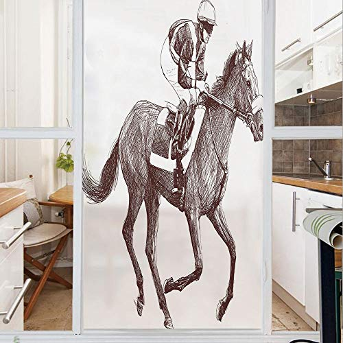 Decorative Window Film,No Glue Frosted Privacy Film,Stained Glass Door Film,Sketchy Illustration of Racing Horse and Jockey Equestrian Sports Theme Art Decorative,for Home & Office,23.6In. by 35.4In B