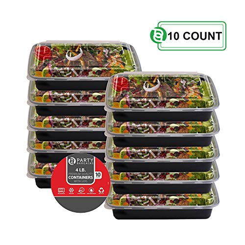 Party Bargains One Compartment Plastic Food Container with Airtight Lids Bento Lunch Box | Meal Prep Food Containers Portion Control Leakproof Microwavable, Reusable & Freezer Safe - 4 lb | PACK of 10 ()