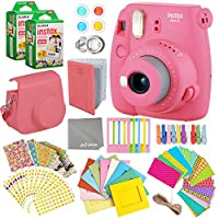 Fujifilm Instax Mini 9 Instant Camera + Fuji INSTAX Polaroid Film (40 Sheets) + Accessories Bundle - Carrying Case, Photo Album, Assorted Frames, Colorful Sticker Frames (EMOJI) & MORE