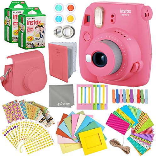 Fujifilm Instax Mini 9 Flamingo Pink Instant Camera Kit – 40 Film Sheets, Carrying Case, Photo Album, Assorted Frames, Stickers and Accessories – Built-in Flash and Batteries Included