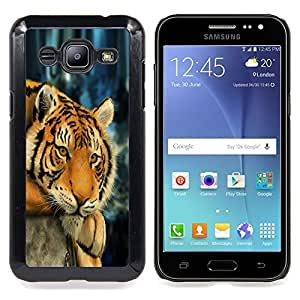 Queen Pattern - FOR Samsung Galaxy J2 - Tiger Sleepy Tired Feline Animal Africa - Cubierta del caso de impacto con el patr???¡¯???€????€????&sup