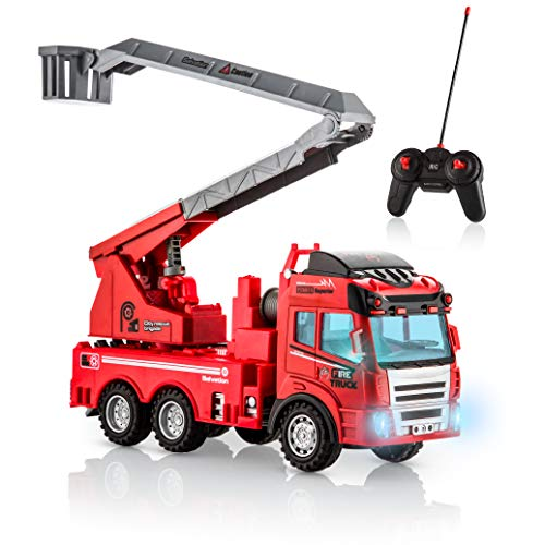 (Advanced Play fire Truck Toy Remote Control with Lights and Sounds Extending Rescue Ladder fire Engine Toys for Boys and Girls Kids Toddlers Ages 3 and up)