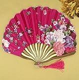 Rose Red Summer Style Folding Hand Held Fan Fabric Floral Wedding Dance Favor Pocket Fan 1Pcs