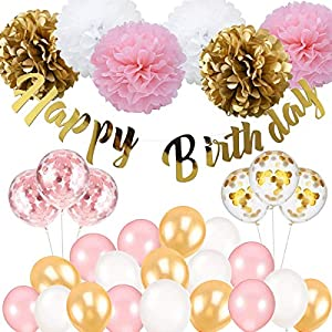 Best Epic Trends 51ii1ocVh4L._SS300_ Birthday Decoration, Happy Birthday Banner, Tissue Flower, Confetti Balloons for 16th 18th 21st 30th 50th 60th Birthday…