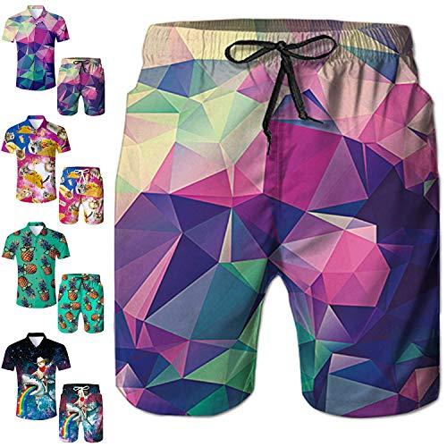 Men's Swim Trunks Diamond Geometry Beach Board Shorts Quick Dry Swim Shorts with Mesh Lining