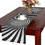 InterestPrint Abstract Optical Illusion Black and White Twisted Stripes Table Runner Cotton Linen Cloth Placemat for Office Kitchen Dining Wedding Party Banquet 16 x 72 Inches