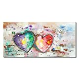 Everfun Handmade Huge Oil Painting Colorful Heart Loves Abstract Canvas Wall Art Picture Home Decor for Living Room Bedroom with Frame Ready to Hang