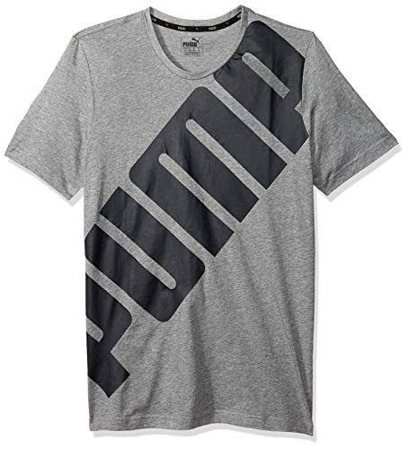 PUMA Men's Big Logo Tee, Medium Gray Heather, X-Large