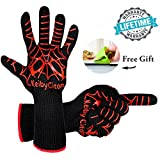 Cheap Fire Resistant Gloves Fire Pit 932°F Heat Resistant – BBQ Gloves For Barbecue Kitchen Outodor Cooking Baking Fireplace Accessories with 2 Free Mini Oven Mitts (One Size, Black/Red)
