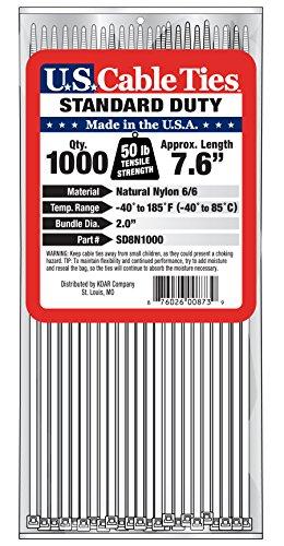 [해외]미국 케이블 타이 SD8N1000 8 인치 표준 의무 케이블 타이, 내추럴, 1000 팩/US Cable Ties SD8N1000 8-Inch Standard Duty Cable Ties, Natural, 1000-P