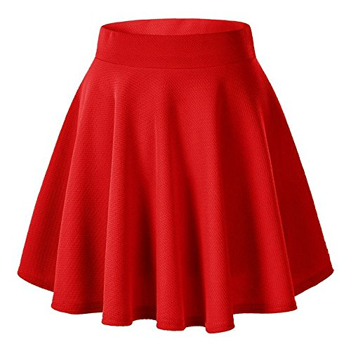 Moxeay Women's Basic A Line Pleated Circle Stretchy Flared Skater Skirt (X-Large, Red)