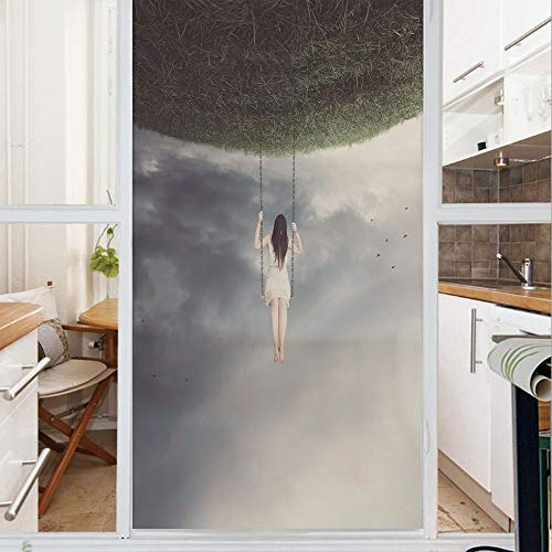 Decorative Window Film,No Glue Frosted Privacy Film,Stained Glass Door Film,Upside Down World of A Sad Woman on the Swing Depression Picture Decorative,for Home & Office,23.6In. by 59In Purple Grey ()