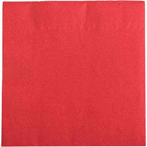 Red Cocktail Beverage Napkins: +EBook (Red, 250ct, 2 Ply, 10