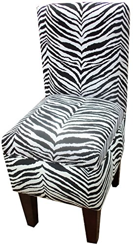 Black and White Zebra Striped Dining Vanity Chair -  R D Choices