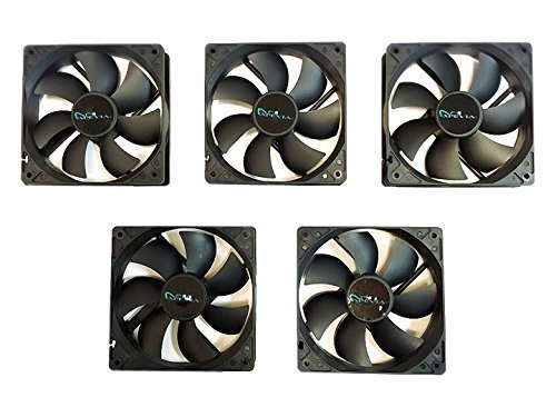 APEVIA AF512S-BK 4 Pin & 3 Pin Silent Case Fan Best Value, 120mm, Black, 5 Piece
