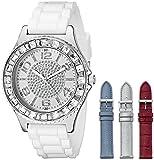 GUESS Women's U0714L1 Silver-Tone Watch Set with 4 Interchangeable Leather Straps Inside a Bonus Travel Case