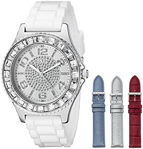 guess-womens-u0714l1-silver-tone-watch-set-with-4-interchangeable-leather-straps-inside-a-bonus-trav