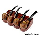 Tobacco Pipe Display Rack Rose Wooden Smoking Pipe Stand for 1/2/3/4 Pipes Tobacco Pipe Holder (4 Pipes Tobacco Pipe Rack)