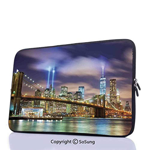 10inch Laptop Sleeve Case,Manhattan Skyline with Brooklyn Bridge and Towers of Lights in NYC United States Messenger Bag Compatible with Dell HP Acer Asus Lenovo Notebook/Lenovo