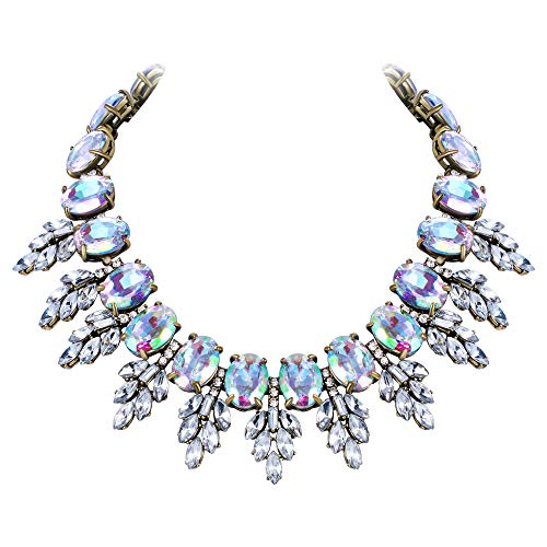 Flyonce Women's Oval Rhinestone Crystal Vintage Style Leaf Chunky Necklace Iridescent Clear AB Gold-Tone
