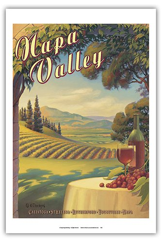 Napa Valley California - Wine Country - Calistoga, St. Helena, Rutherford, Yountville, Napa - Vintage Style World Travel Poster by Kerne Erickson - Master Art Print - 12 x 18in