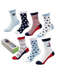 COTTON DAY 7 Days of the Week Boys Cotton Crew Socks Gift Box Set
